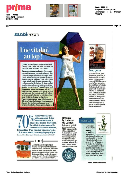 Bertrand Bimont expert pour le magazine Prima