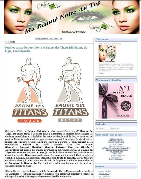 Les Baumes des titans sur le blog Ma beauté noire au top