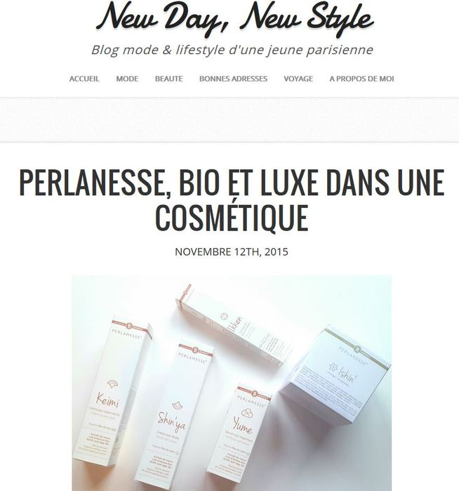 La gamme Perlanesse sur le blog New Day, new style