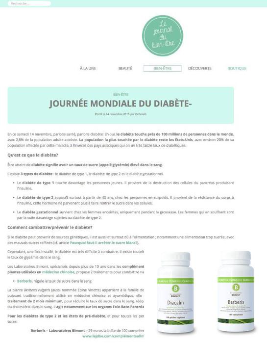 Les compléments Berberis et Diacalm dans le Journal du bien-être