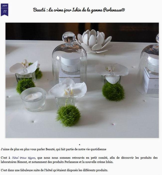Beauté : la crème Ishin' Perlanesse sur le blog de Dame Skarlette (novembre 2015)