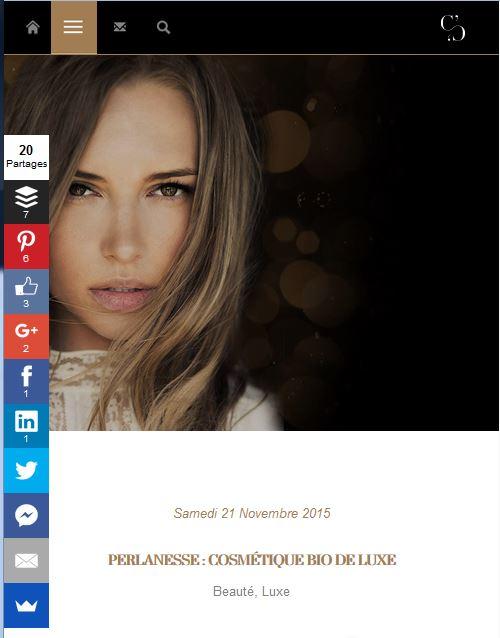 La gamme Perlanesse sur le site La mode c nous (novembre 2015)