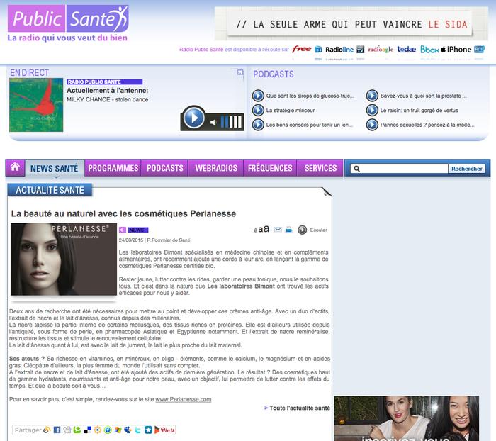 Perlanesse sur le site de Radio Public Santé