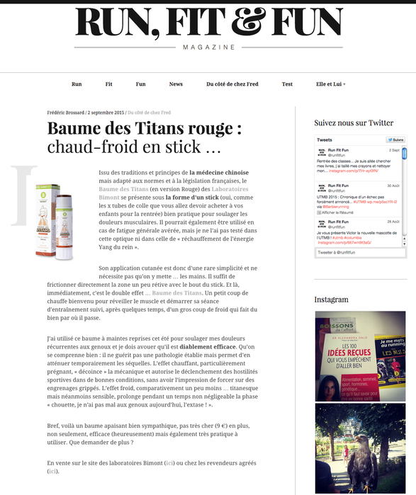 Le Baume des titans rouge sur le blog Run, fit & fun