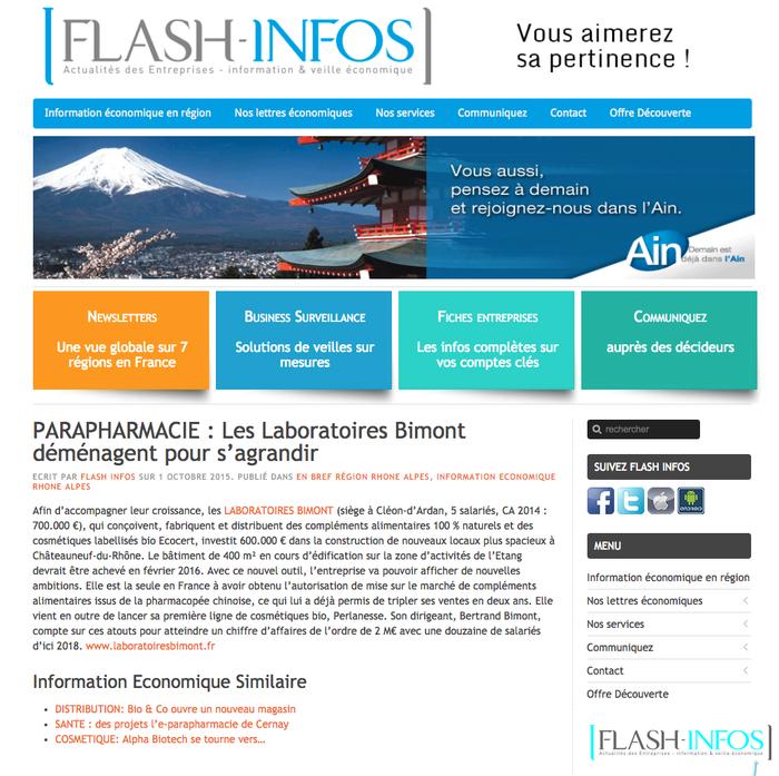 Flash Infos : les Laboratoires Bimont déménagent pour s'agrandir