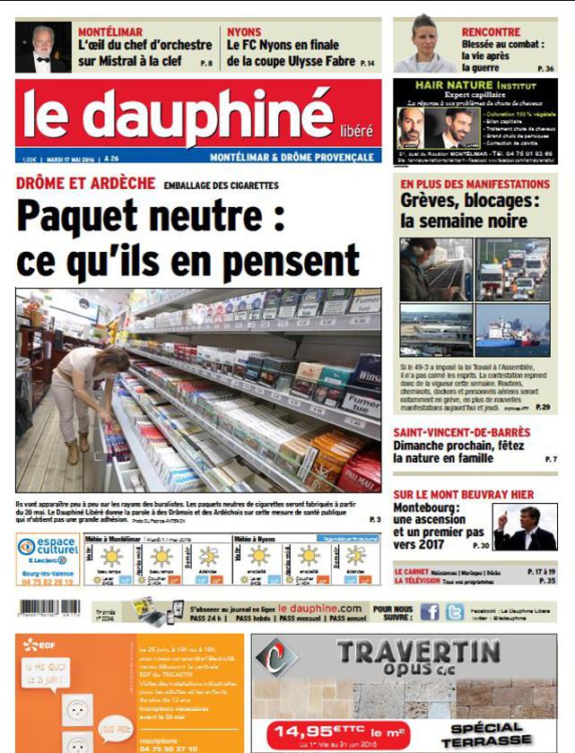 LE DAUPHINE LIBERE - 17 MAI 2016 / PRESSE