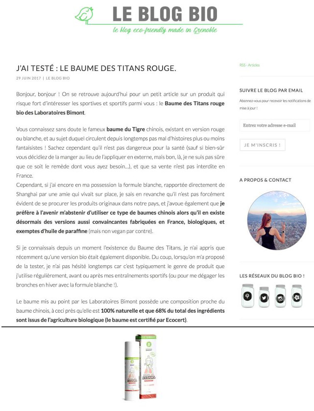 LE BLOG BIO - JUIN 2017 / WEB