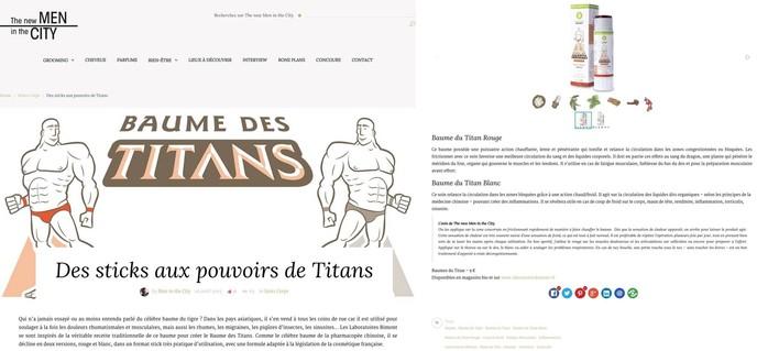 les baumes des titans dans the new men in the city