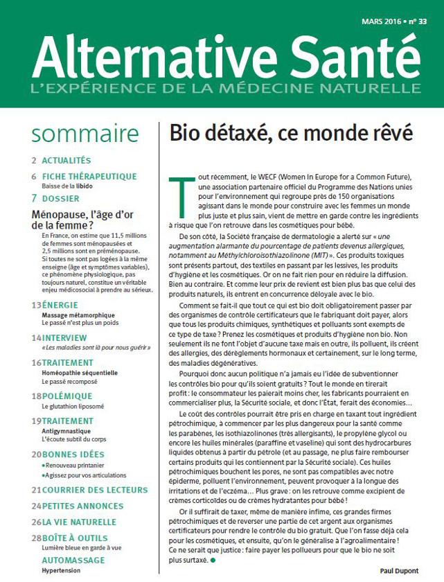 ALTERNATIVE SANTE - MARS 2016 / PRESSE